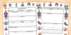 Superhero Themed Editable Individual Lesson Plan Template