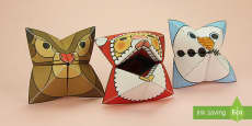 Simple 3D Christmas Fortune Teller Puppet Pack Paper Craft
