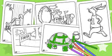 The Tortoise and The Hare Colouring Sheets