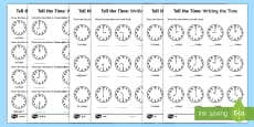 Year 1 Tell the Time Differentiated Activity Sheets