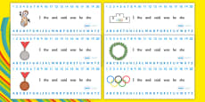 The Olympics Combined Number Alphabet Strips