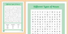 Different Types of Nouns Wordsearch