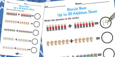 Up to 20 Addition Sheet to Support Teaching on Biscuit Bear