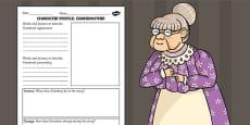 Stig of the Dump Grandma Character Profile Activity Sheet