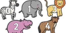 0 to 100 Display Numbers on Safari Animals