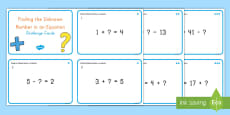 Finding the Unknown Number in Single Digit Equations Challenge Cards