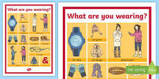 Clothes: What Are You Wearing? Display Poster Spanish