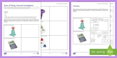 Types of Energy Carousel Investigation Instruction Sheet Print-Out