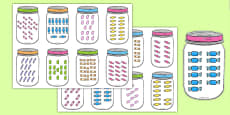 Sweets In Jar Subitising Cards 10-20