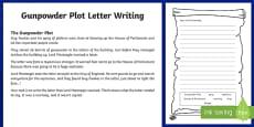 Gunpowder Plot Letter Writing Activity Sheet