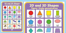 2D and 3D Shapes Poster English/Polish