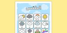 Weather Vocabulary Poster Mat Arabic