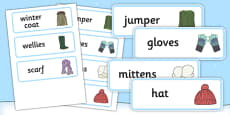 Winter Clothes Word Cards