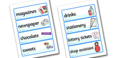 Newsagents Role Play Labels