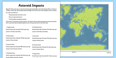 Asteroid Impacts Map Activity Sheet Pack