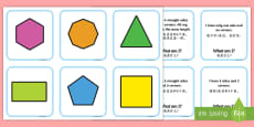 2D Shape Matching Cards English/Mandarin Chinese