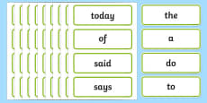 Curriculum Spelling List Years 1 and 2 Word Cards