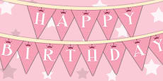 Princess Themed Birthday Party Happy Birthday Bunting