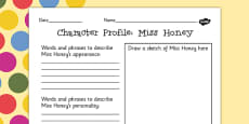 Miss Honey Character Profile Activity Sheet to Support Teaching on Matilda