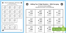 Adding Two 3 Digit Numbers in a Column with Carrying Answers Activity Sheet Year 3