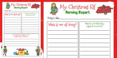 Christmas Elf Morning Report Writing Template