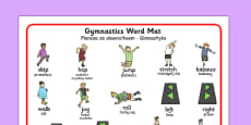 Gymnastics Instructions Word Mat Polish Translation