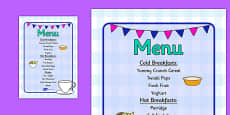 Role Play Breakfast Menu
