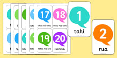 Numbers 1-20 Flash Cards Te Reo Māori