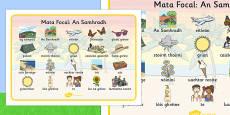 Summer Word Mat Images Gaeilge