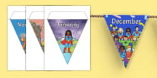 Superheroes Themed Months of the Year Bunting