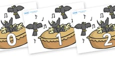 Numbers 0-31 on Blackbirds in a Pie