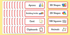Classroom Resource Labels (Red)