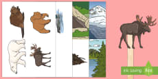 Canadian Animal Stick Puppets