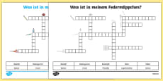Items In My Pencil Case German Crossword Activity Sheet