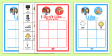 All About Me 'I like' and 'I don't like' Sorting Activity English/Spanish