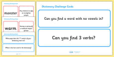 Dictionary Challenge Cards