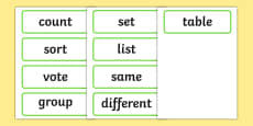 Maths Organising and Using Data Word Cards