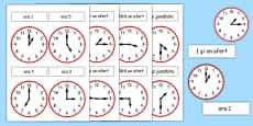 Citim ceasul - Cartonașe de punere în corespondență
