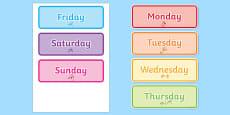 Days of the Week Word Cards Urdu Translation