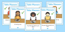 Table Manners Rules Display Posters SEN
