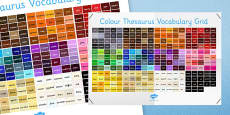 Colour Thesaurus Vocabulary Grid