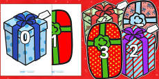 Numbers 0-30 on Christmas Presents