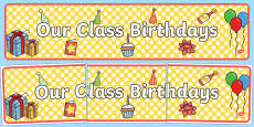 Australia - Our Class Birthdays Display Banner