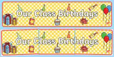 Australia - Our Class Birthdays Display Banner