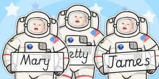 Editable Astronaut Photo Self Registration Labels
