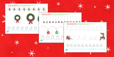 Christmas Pencil Control Activity Sheets Romanian Translation