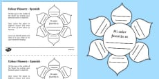 MFL Spanish Colour Flowers Activity Sheet