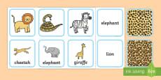 Safari Animal Pattern Matching Cards