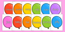 Wow Words on Party Balloons