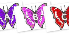 A-Z Alphabet on Emperor Butterflies